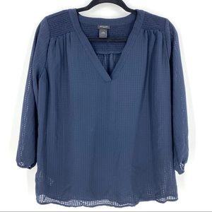 Ann Taylor | Sheer Blue Popover V-Neck Blouse Sz S